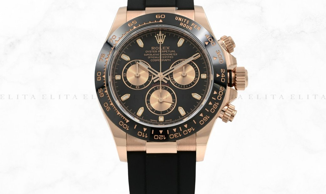 Rolex Daytona Cosmograph 116515LN 18 Ct Everose Gold Pink and Black Dial