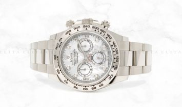 Rolex Daytona Cosmograph 116509 18 Ct White Gold White Mother-of-Pearl Diamond Set Dial