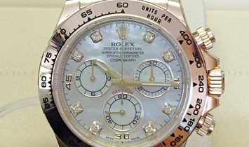 Rolex Daytona Cosmograph 116508-0007 18 Ct Yellow Gold Diamond Set White Mother of Pearl Dial