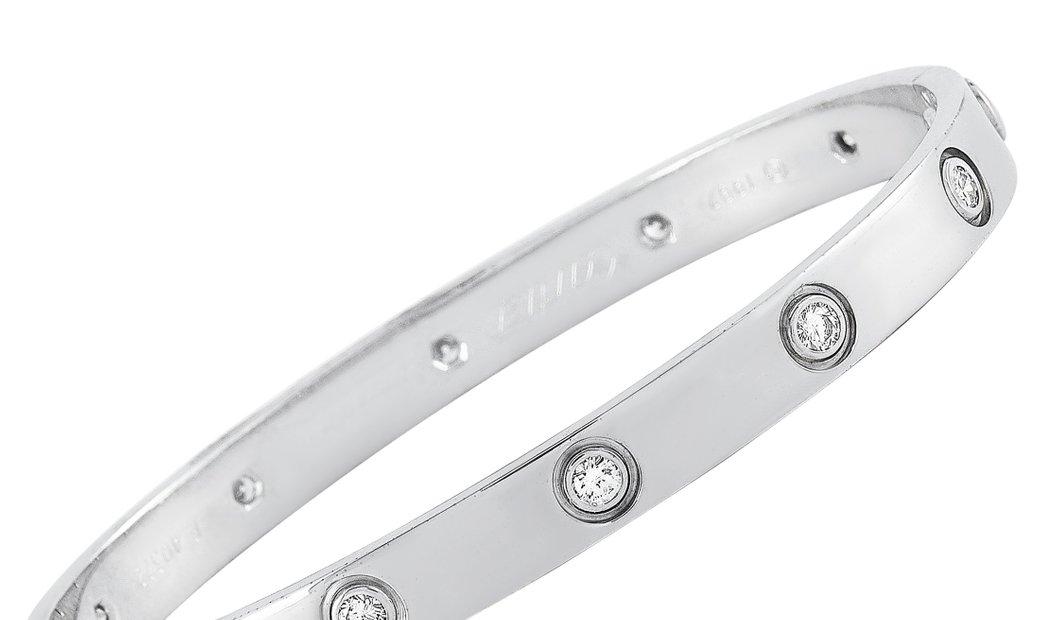 Cartier Cartier LOVE 18K White Gold 0.96 ct 10 Diamond Bracelet Size 18