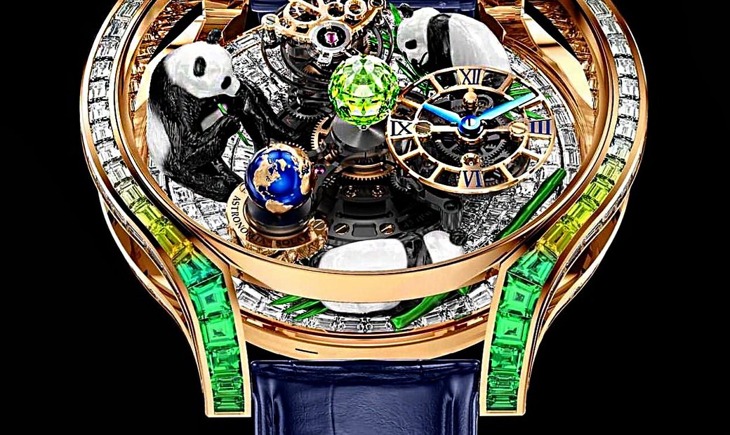 Jacob & Co. 捷克豹 [NEW MODEL] Astronomia Panda Full Baguette Rose Gold Watch