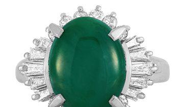 LB Exclusive LB Exclusive Platinum 0.56 ct Diamond and Jade Ring