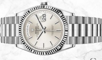 Rolex Day-Date 36 128239-0005 18 ct White Gold Silver Dial