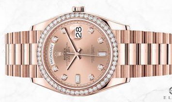 Rolex Day-Date 36 128345RBR-0009 18 Ct Everose Gold Diamond Set Rose Coloured Dial