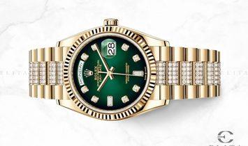 Rolex Day-Date 36 128238-0070 18 Ct Yellow Gold Diamond Set Green Ombre Dial Diamond Set Bracelet