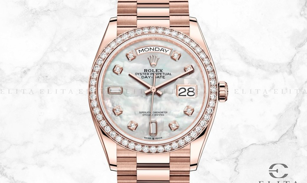 Rolex Day-Date 128345RBR-0028 18 Ct Everose Gold Diamond Set White Mother-Of-Pearl Dial