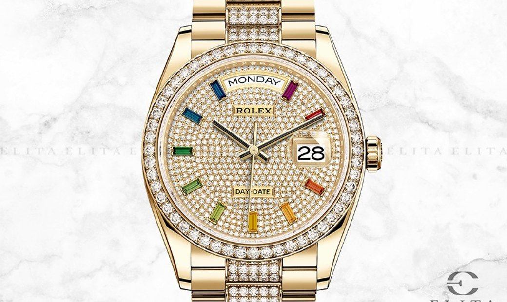 Rolex Day-Date 36 128348RBR-00311 18 Ct Yellow Gold Diamond Paved Dial