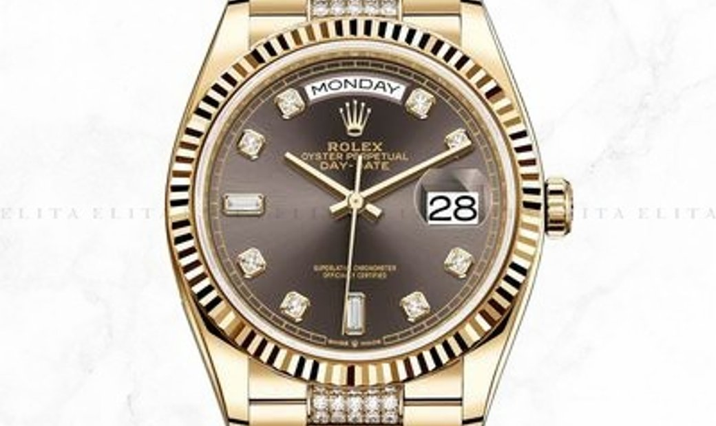 ROLEX DAY-DATE 36 128238-0024 18 Ct Yellow Gold Diamond Set Dark Grey Dial Diamond Set Bracelet