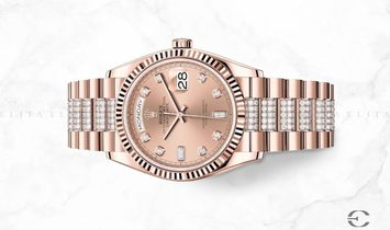 Rolex Day-Date 36 128235-0019 18 ct Everose Gold Diamond Set Rose Coloured Dial