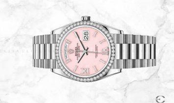 Rolex Day-Date 36 128349RBR-0008 18 Ct White Gold Diamond Set Pink Opal Dial, Diamond Set Bezel