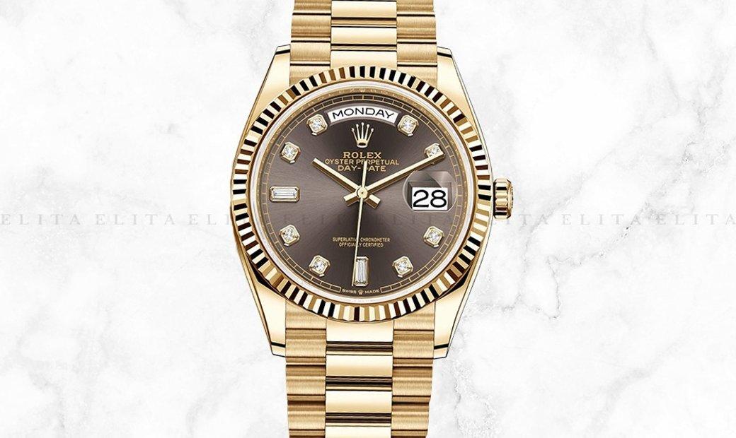 Rolex Day-Date 36 128238-0022 18 CT Yellow Gold Diamond Set Dark Grey Dial