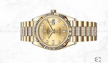 Rolex Day-Date 128238-0026 18 Ct Yellow Gold Champagne Coloured Dial Diamond Set Bracelet