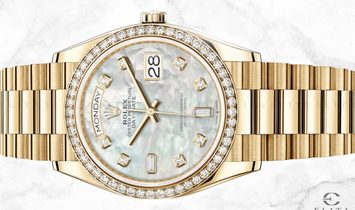 Rolex Day-Date 36 128348RBR-0017 18 Ct Yellow Gold White Mother-Of-Pearl Dial Diamond-Set Bezel