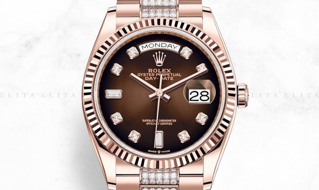 Rolex Day-Date 36 128235-0038 18 ct Everose Gold Diamond Set Brown Ombré Dial