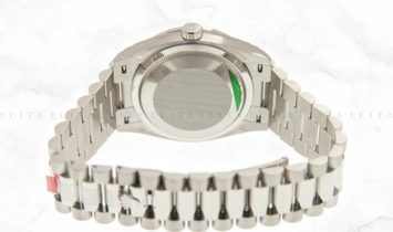 Rolex Day-Date 36 128349RBR-0001 18 Ct White Gold Silver Dial Diamond Set Bezel