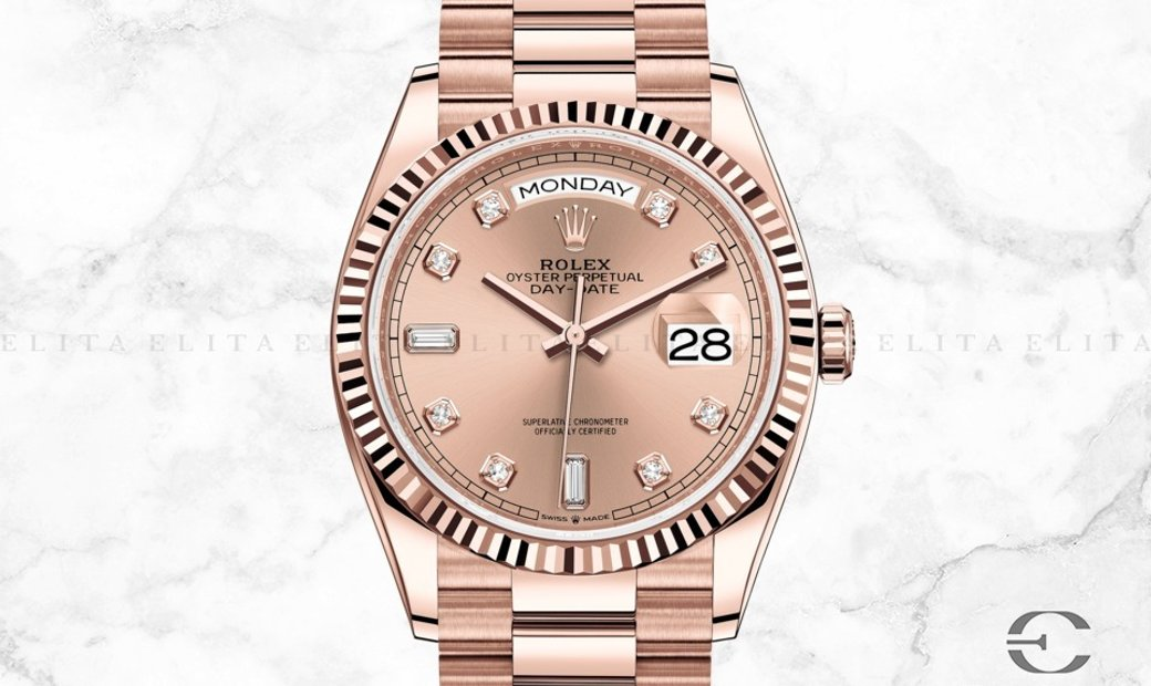 Rolex Day-Date 36 128235-0009  18 Ct Everose Gold Diamond Set Rose Colour Dial