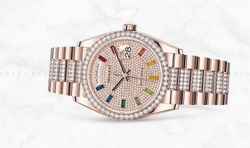 Rolex Day-Date Rolex Day-Date 36 128345RBR-0043 18 Ct Everose Gold Diamond Paved Dial