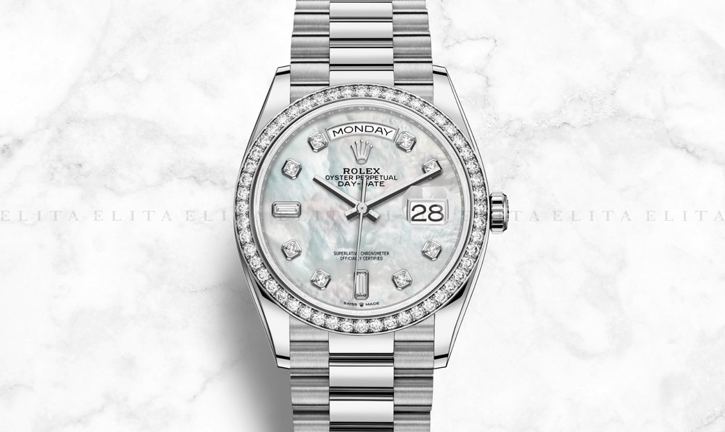 Rolex Day-Date 36 128349RBR-0004 18 Ct White Gold Diamond Set White Mother-Of-Pearl Dial