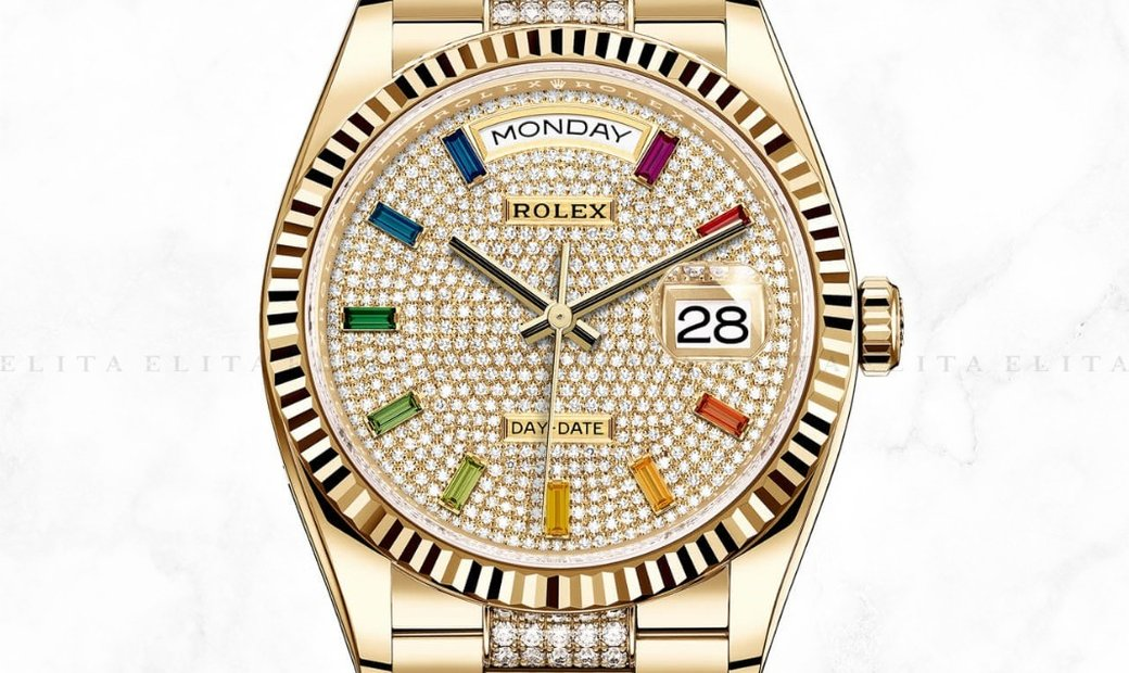 Rolex Day-Date 36 128238-0052 18 Ct Yellow Gold Diamond Paved Dial