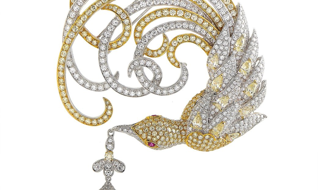Sovel Zurich Sovel Zurich 18K White Gold ~18.50 ct Diamond and Pearl Brooch