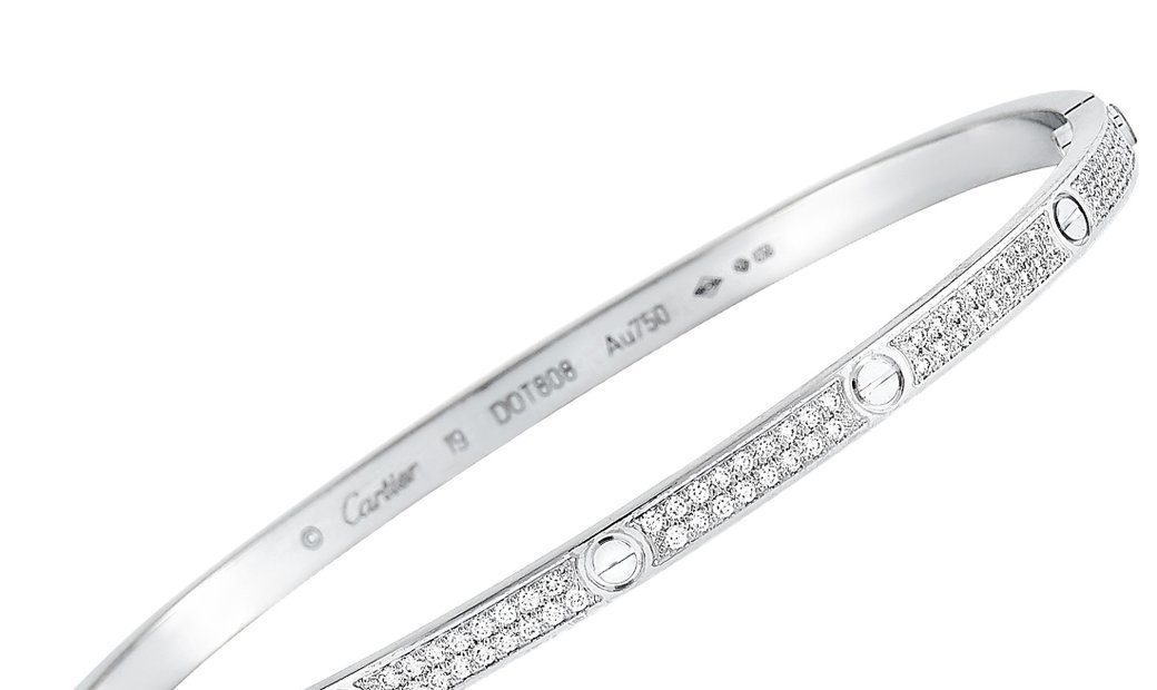 Cartier Cartier LOVE 18K White Gold Diamond Bracelet Size 19