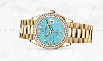 Rolex Day-Date 36 128348RBR-0037 18 Ct Yellow Gold Diamond Set Turquoise Dial