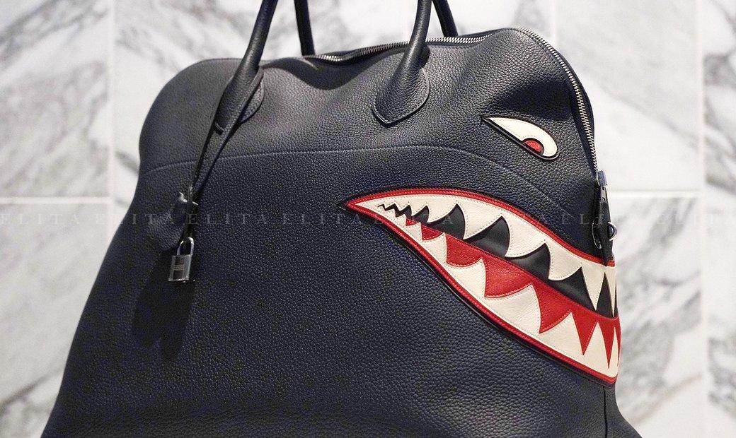 Hermes Bolide Runway Shark Bag, Limited Edition in Blue Indigo Togo Leather