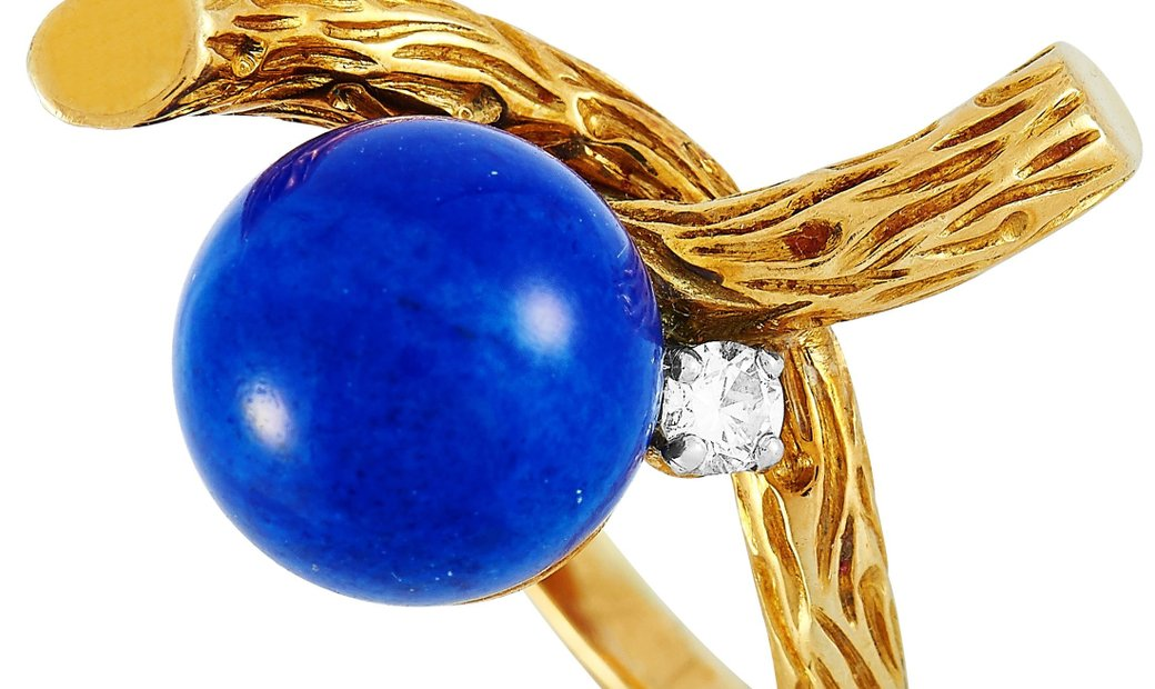 Boucheron Boucheron Vintage 18K Yellow Gold 0.10 ct Diamond and Lapis Lazuli Ring