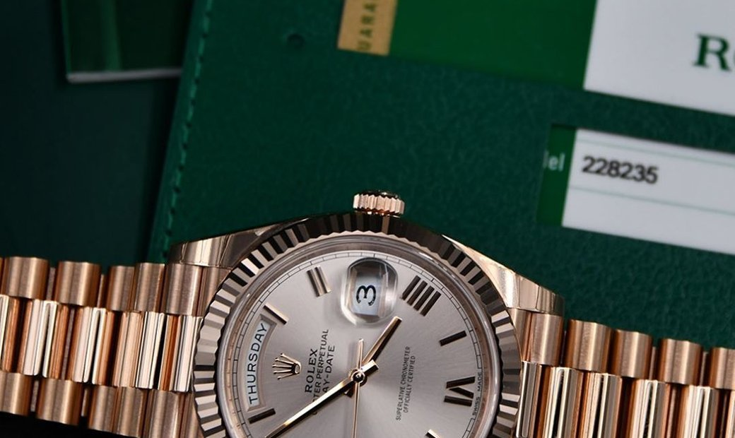 Rolex Day-Date 40 228235-0001 18 ct Everose Gold Sundust Dial