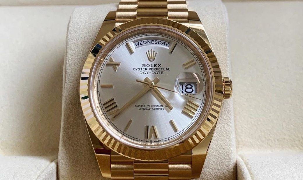 Rolex Day-Date 40 228238-0002 18 Ct Yellow Gold Silver Coloured Dial