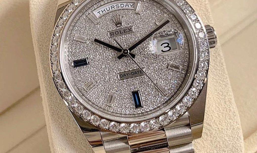 Rolex Day-Date 40 228349RBR-0036 18 Ct White Gold Diamond Paved Dial Diamond Set Bezel
