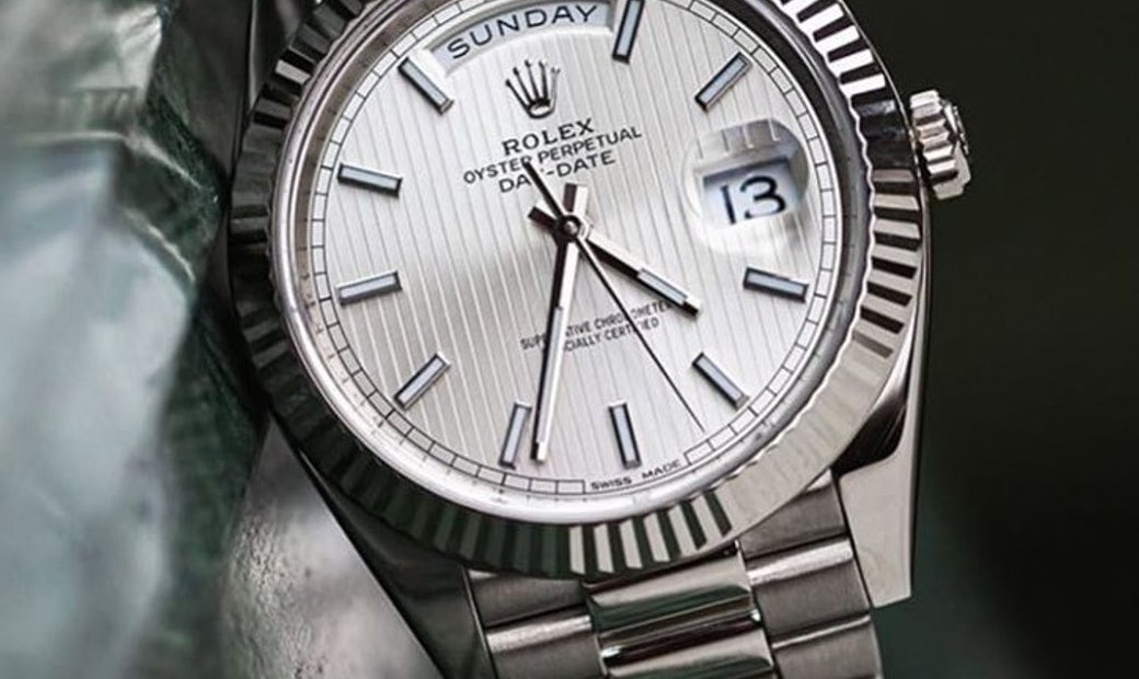 Rolex Day-Date 40 228239-0001 18 Ct White Gold Silver Striped-Motif Dial