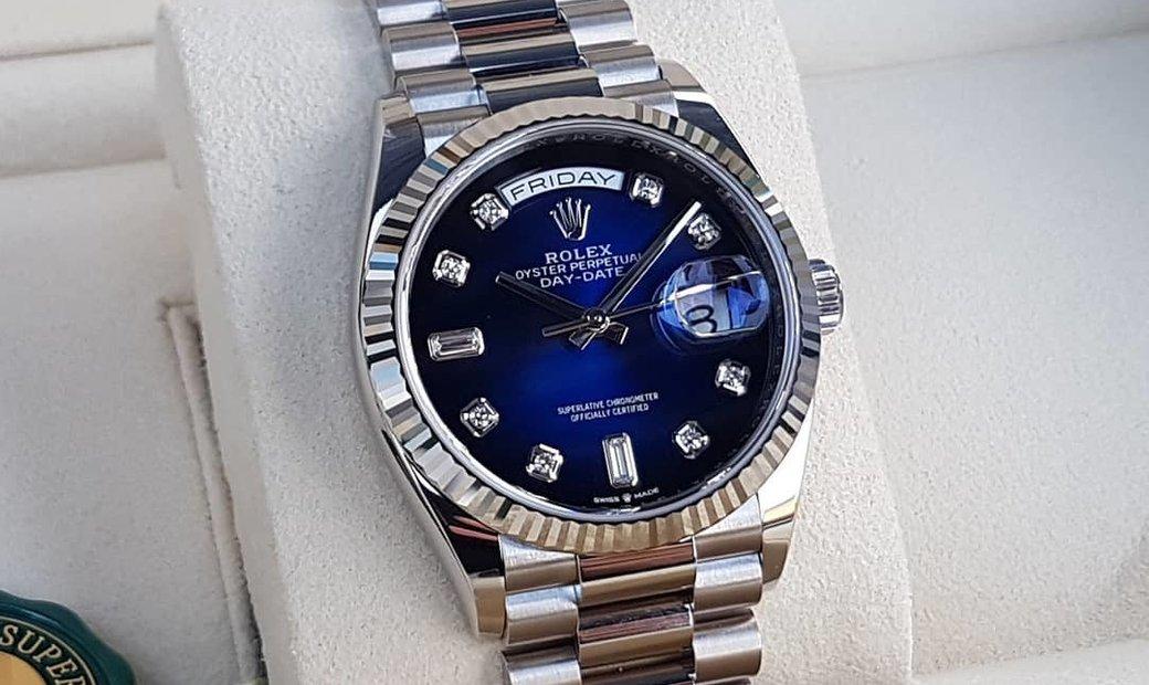 Rolex Day-Date 36 128239-0023 18 ct White Gold Diamond Set Blue Ombré Dial