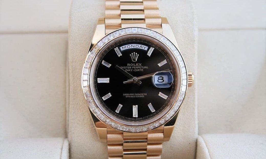 Rolex Day-Date 40 228398TBR-0001 18 Ct Yellow Gold Diamond Set Black Dial
