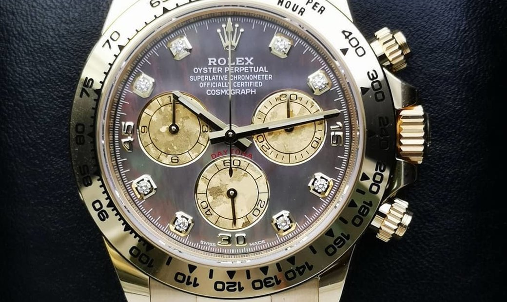 Rolex Daytona Cosmograph 116508-0011 18 Ct Yellow Gold Diamond Set Black Mother-Of-Pearl Dial