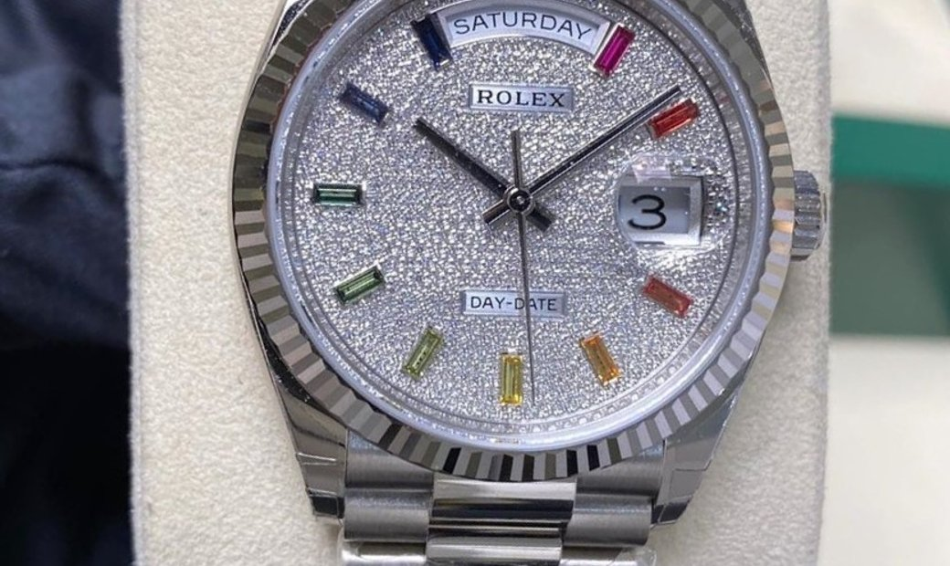 Rolex Day-Date 36 128239-0019 18 ct White Gold Diamond Paved Dial