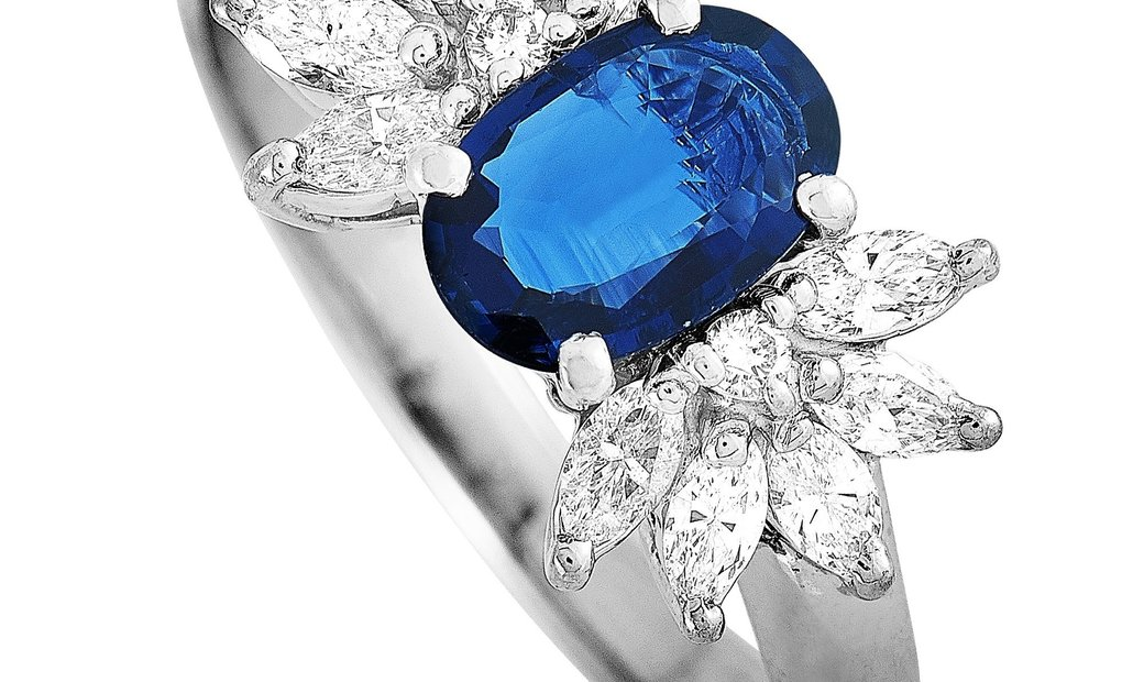 LB Exclusive LB Exclusive Platinum 0.58 ct Diamond and Sapphire Ring