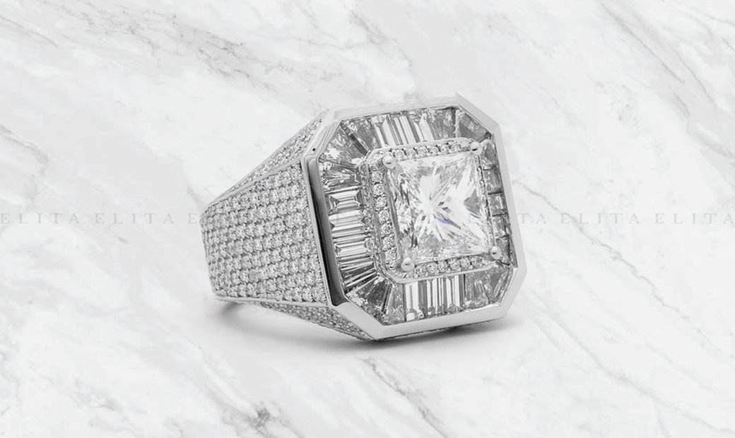 Mens White Gold Diamond Dress Ring 4ct Princess Cut