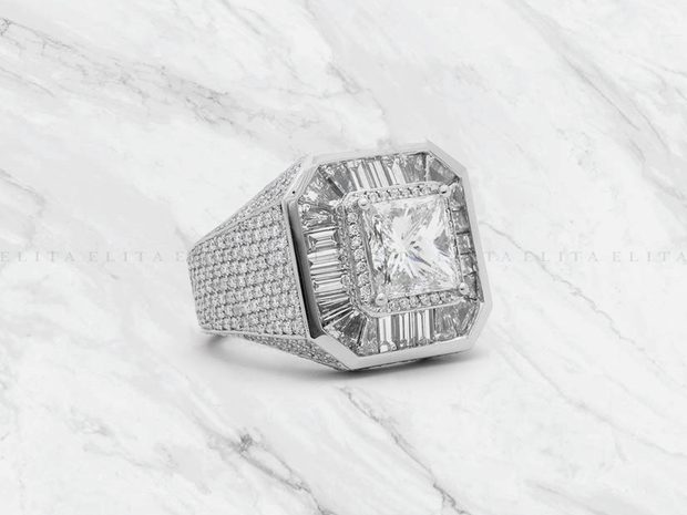 Mens White Gold Diamond Dress Ring 4ct Princess Cut (10997133)
