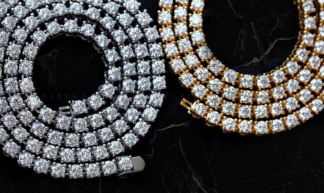 Pair Of 18kt Gold Diamond Tennis Necklaces 35-Pointers 70ct Total