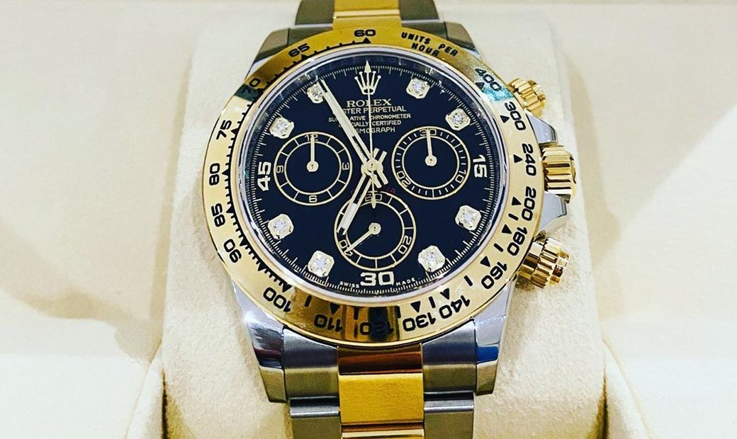 Rolex Daytona Cosmograph 116503-0008 Oystersteel and 18 Ct Yellow Gold Diamond Set  Black Dial
