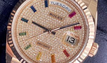 Rolex Day-Date 36 128235-0039 18 Ct Everose Gold Diamond Paved Dial