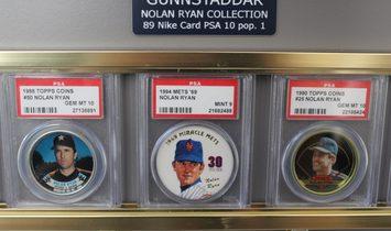 Two Gunnstaddar Custom Display Cases w/PSA Graded Nolan Ryan (4) 1 of 1 + other scarce cards