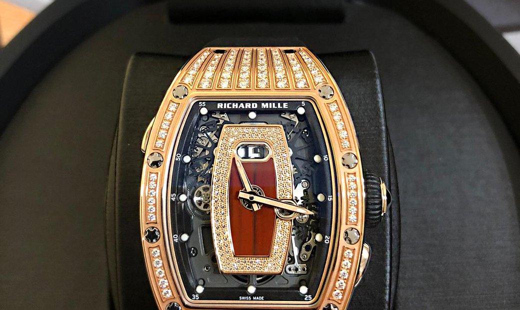 Richard Mille [NEW] RM 037 Rose Gold Med Set Diamond Jasper Dial