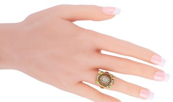Ilias Lalaounis Ilias Lalaounis 18K Yellow Gold 1.00 ct Diamond and Crystal Ring