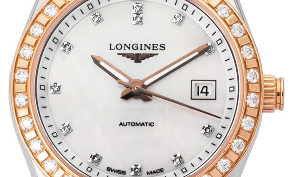 Longines Conquest L2.285.5.88.7, Diamonds, 2018, Very Good, Case material Steel, Bracel
