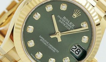Rolex Datejust 31 278248-0018 18 Ct Yellow Gold Olive Green Diamond Set Dial