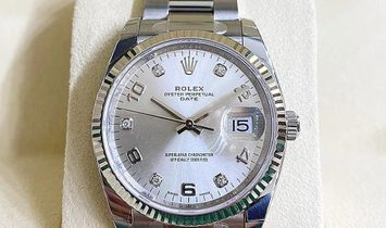 Rolex Datejust 34 115234-0012 White Rolesor Silver Toned Diamond Set Dial