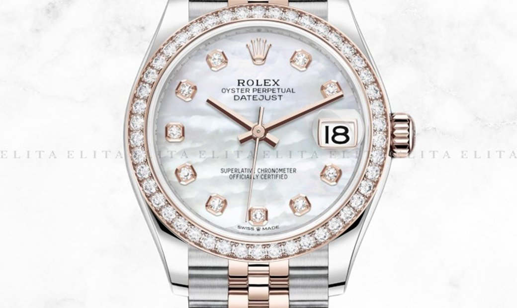 Rolex Datejust 31 278381RBR-0026 Everose Rolesor White Mother of Pearl Diamond Set Dial
