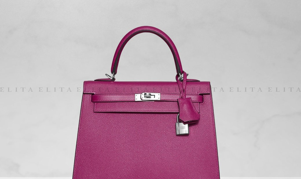 Hermes Kelly 25 Rose Pourpre Epsom Leather